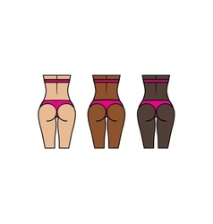Healthy woman buttocks and backs Different skin vector