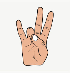 Hip-hop hand gesture east coast rap sign vector