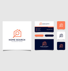 home search and magnifying glass real estate logo vector image