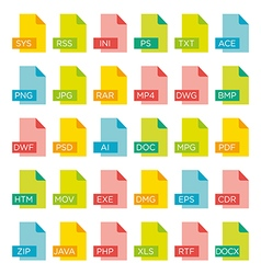 icon set of file extensions vector image