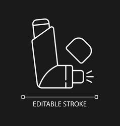 Inhaler white linear icon for dark theme vector
