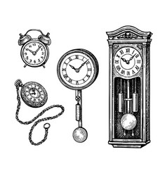 Ink sketch set vintage clocks vector