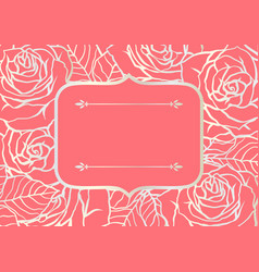 invitation card with outline roses beautiful vector image