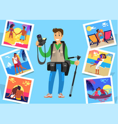 journalist freelancer with tripod near pictures vector image