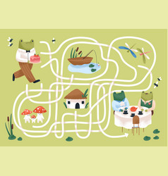 Kids maze game with cute frogs in nature childish vector
