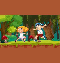 kids running in woods scene vector image