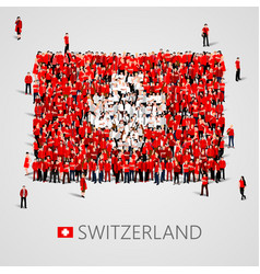 Large group of people in the shape of swiss flag vector