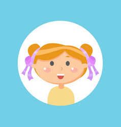 laughing girl smiling child in round icon vector image