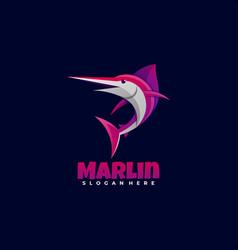 Logo marlin gradient colorful style vector