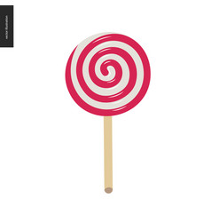 lollipop - red and white spiral candy vector image