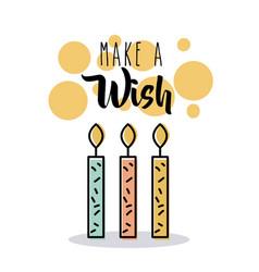 Make a wish candles burning flame card invitation vector