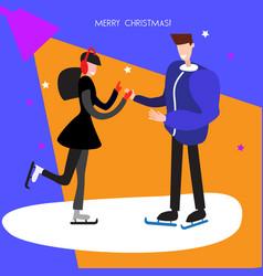 Man and woman skating christmas background vector