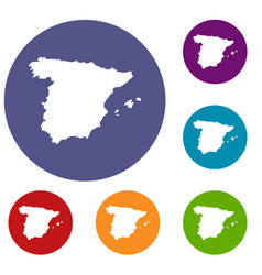 Map of spain icons set vector