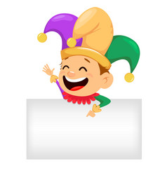 Mardi gras jester showing on blank placard vector