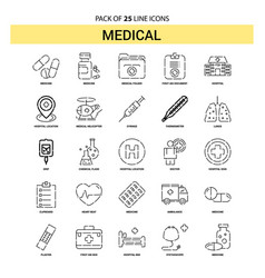 medical line icon set - 25 dashed outline style vector image