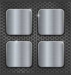 metal brushed square buttons on perforated vector image