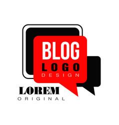 minimalist vlog or video blog emblem with black vector image