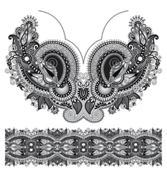 Neckline grey embroidery fashion black and white vector image