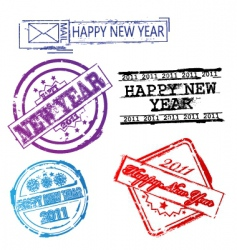new year 2011 stamps vector image