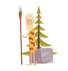 old stone age man with spear caveman cartoon vector image