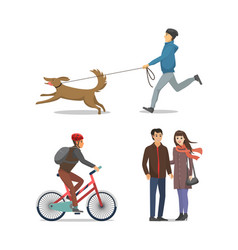Pet on leash boy running together isolated vector