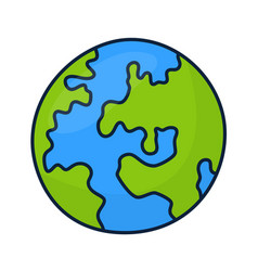planet earth icon isolated on white background vector image