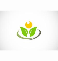 plant flower green leaf logo vector image