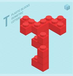 Plastic blocs letter t vector