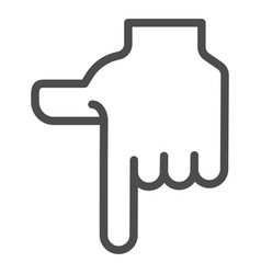 Pointing down hand line icon direction down vector