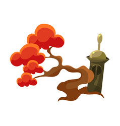 Red tree and stupa tomb bonsai miniature vector