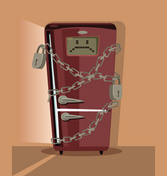 Sad refrigerator character locked with chain vector