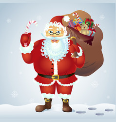 santa claus holding a candy cane candy and with vector image