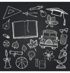 School set of education elements on chalkboard vector image
