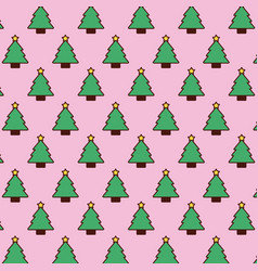 seamless pattern christmas tree pine star vector image
