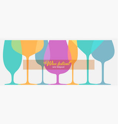 set different wine glasses for festival vector image