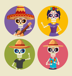 Set skeletons men wearing hat and catrina to vector
