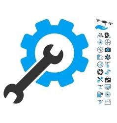 Setup tools icon with air drone tools bonus vector