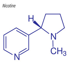 Skeletal formula nicotine drug chemical vector