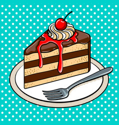 slice of cake on plate pop art vector image