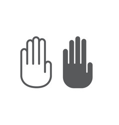 stop hand line and glyph icon warning and palm vector image
