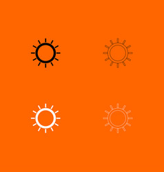 sun black and white set icon vector image