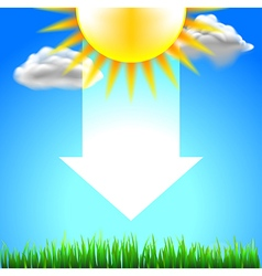 Sun on top white energy arrow and green grass vector