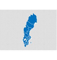 Sweden map - high detailed blue map vector