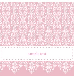 Sweet elegant baby pink lace card or invitation vector image