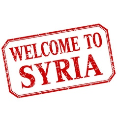 Syria - welcome red vintage isolated label vector