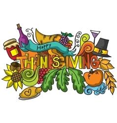 Thanksgiving color doodle art vetcor vector image