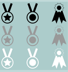 three awards white grey black icon vector image