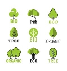 Tree organic eco bio logo set vector