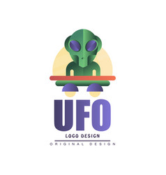 Ufo logo original design label with alien and vector