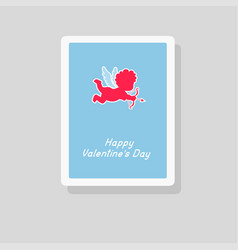 valentines day greeting card with cupid silhouette vector image